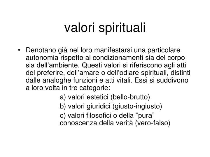 valori spirituali