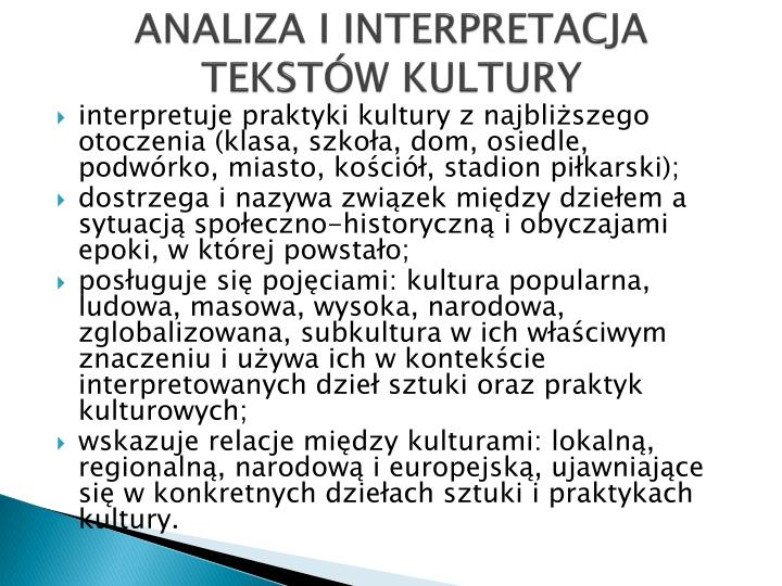 ANALIZA I INTERPRETACJA TEKSTÓW KULTURY
