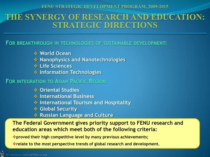 FENU Strategic Development Program, 2009-2015