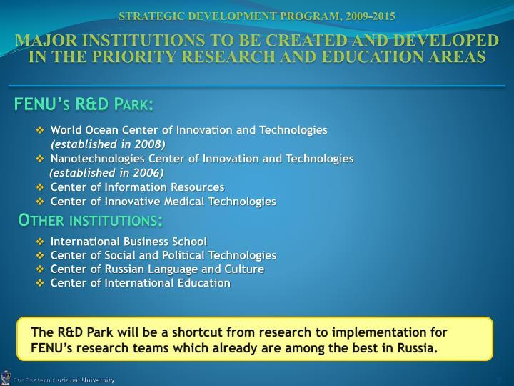 Strategic Development Program, 2009-2015