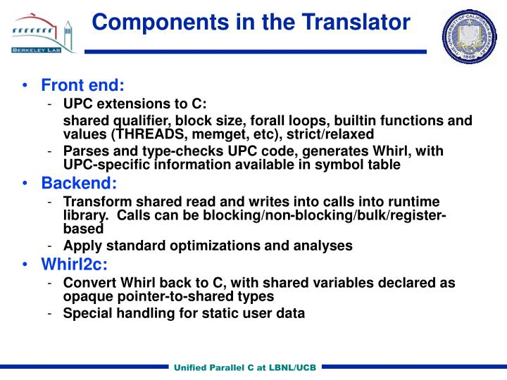 Components in the Translator