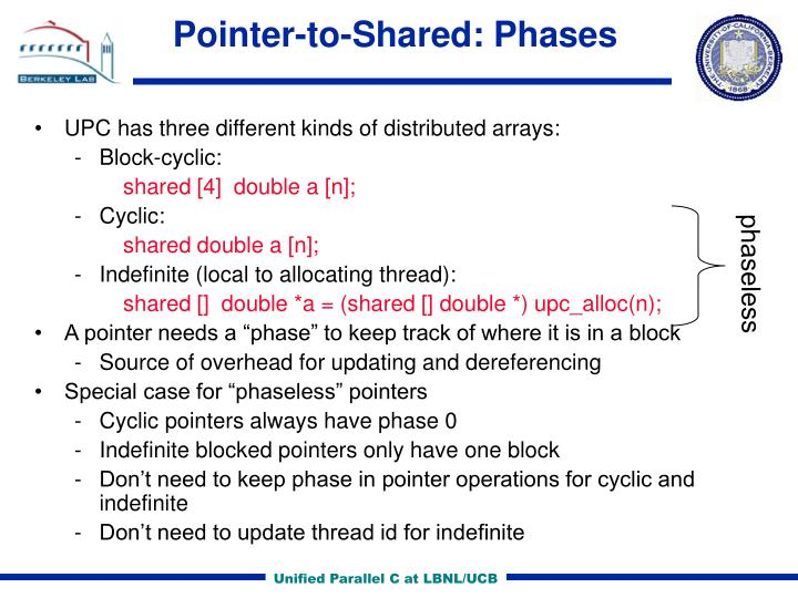 Pointer-to-Shared: Phases