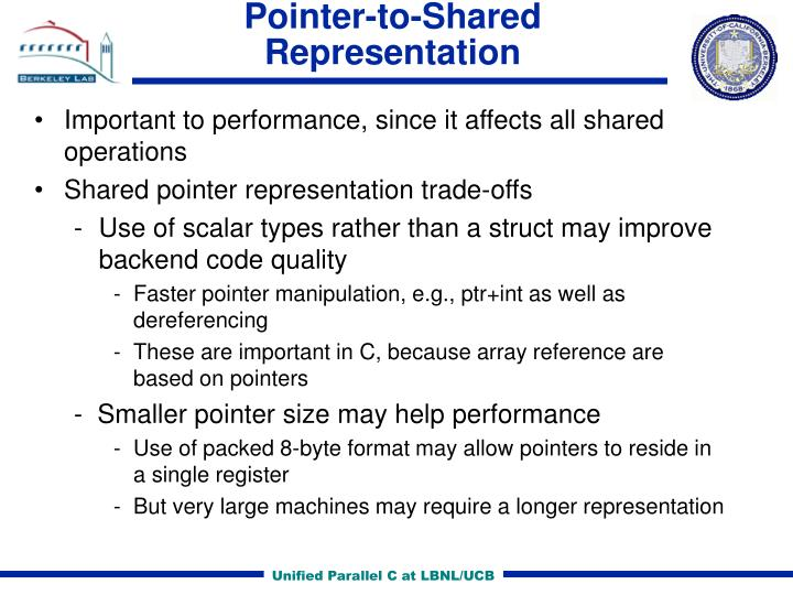 Pointer-to-Shared Representation