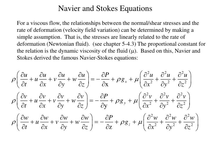 Navier and Stokes Equations