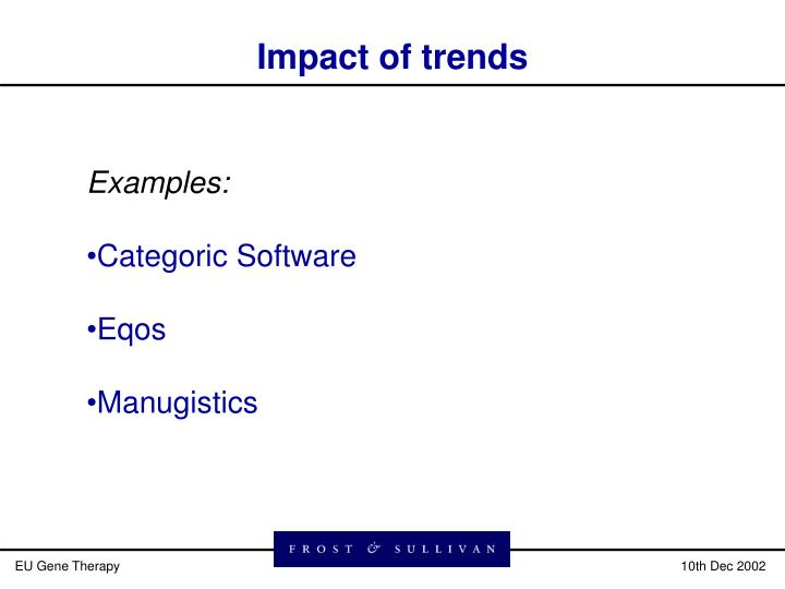 Impact of trends