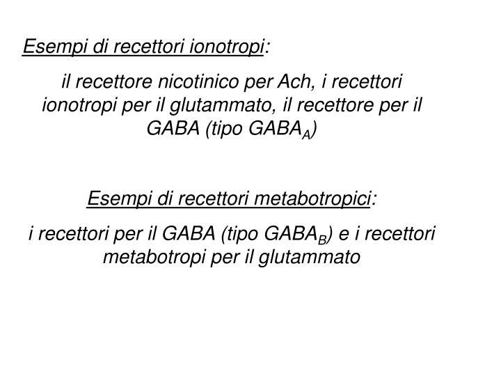 Esempi di recettori ionotropi