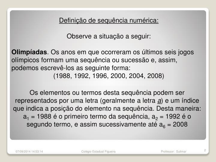 Definição de sequência numérica: