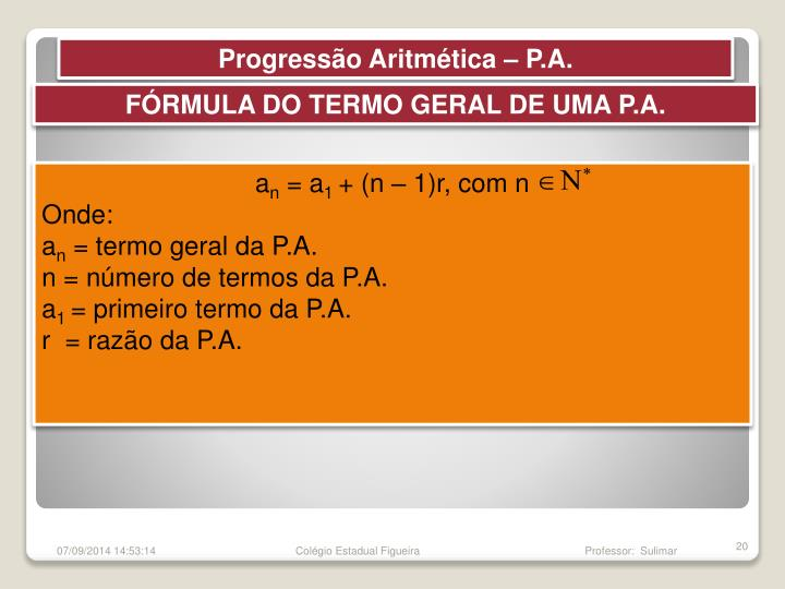 Progressão Aritmética – P.A.