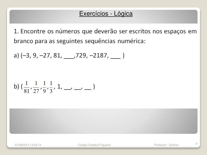 Exercícios - Lógica