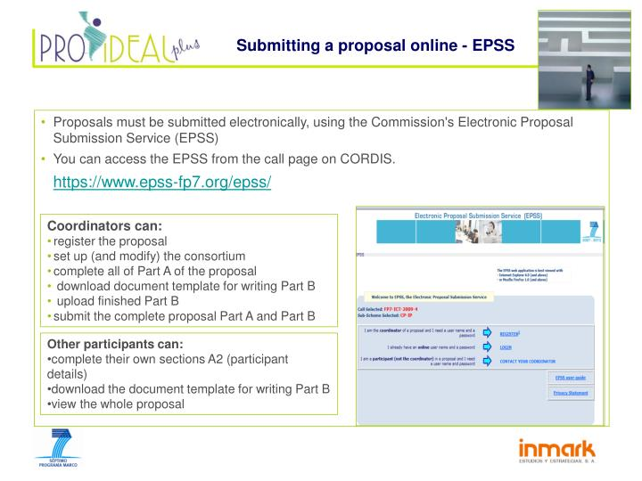 Submitting a proposal online - EPSS