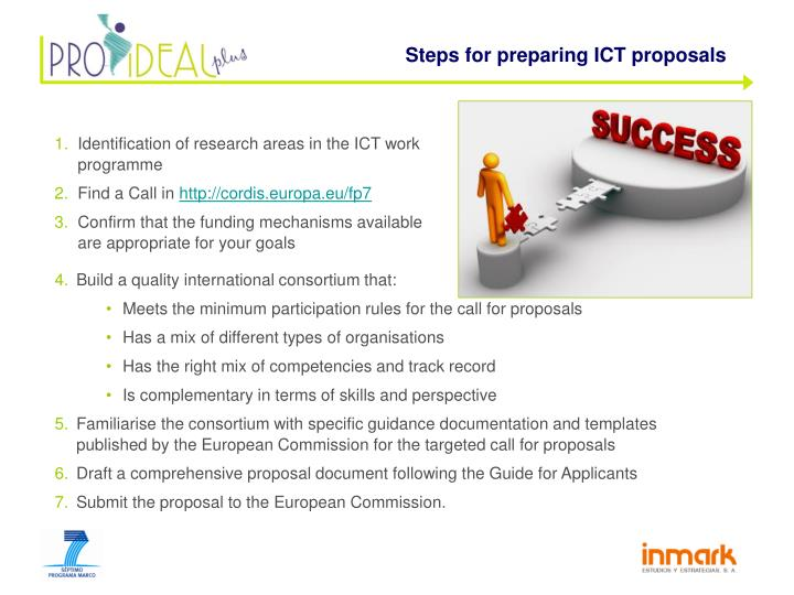 Steps for preparing ICT proposals