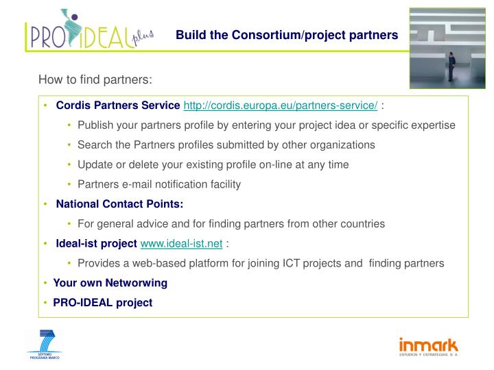 Build the Consortium/project partners