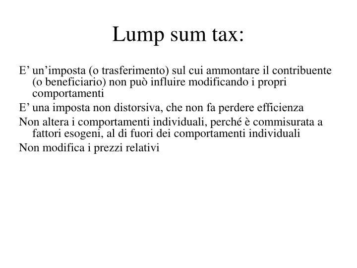 Lump sum tax: