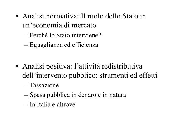 Analisi normativa: Il ruolo dello Stato in un'economia di mercato