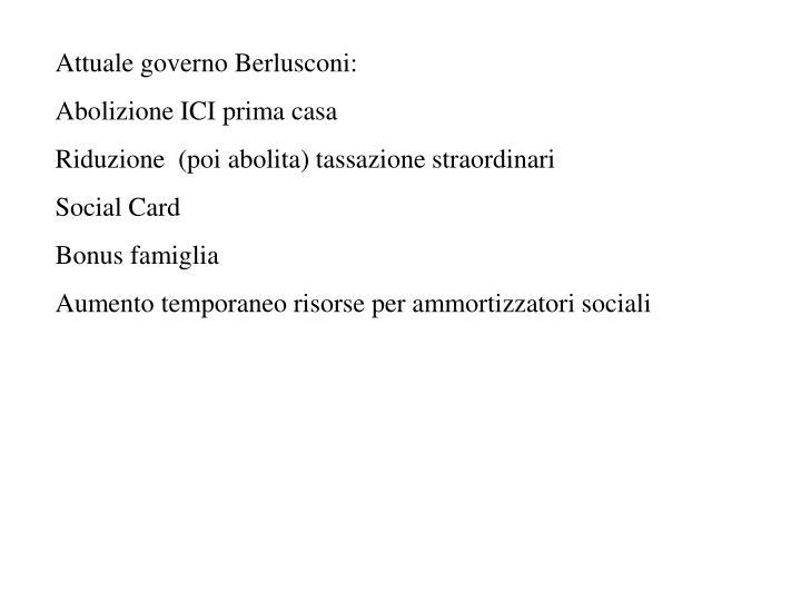 Attuale governo Berlusconi: