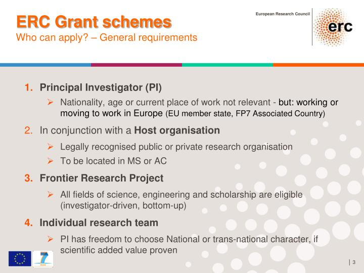 Erc grant schemes who can apply general requirements