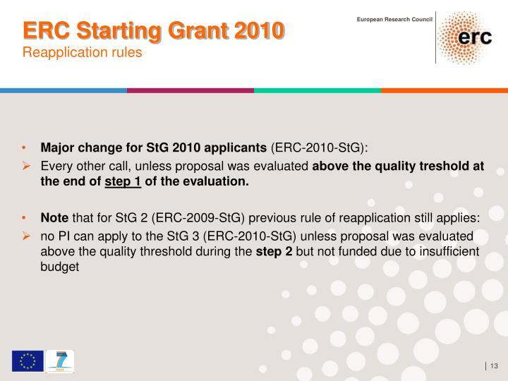ERC Starting Grant 2010