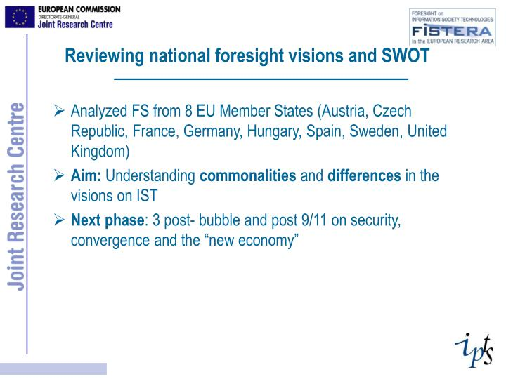 Reviewing national foresight visions and SWOT