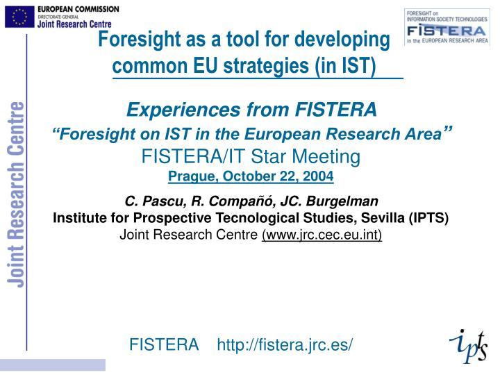 Foresight as a tool for developing common EU strategies