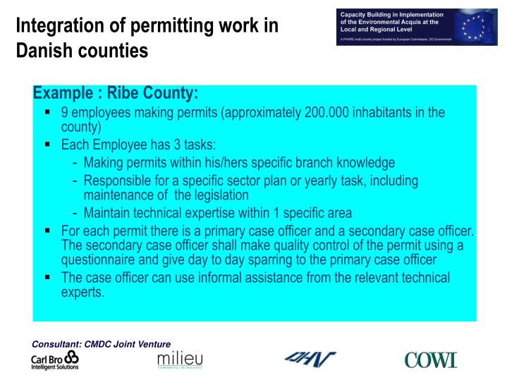 Integration of permitting work in Danish counties