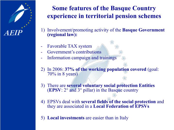 Some features of the Basque Country experience in territorial pension schemes