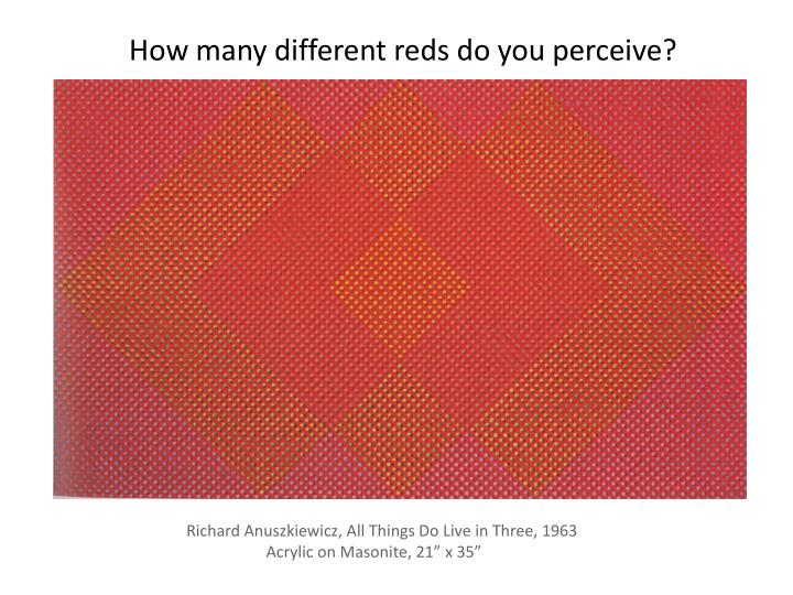 How many different reds do you perceive?
