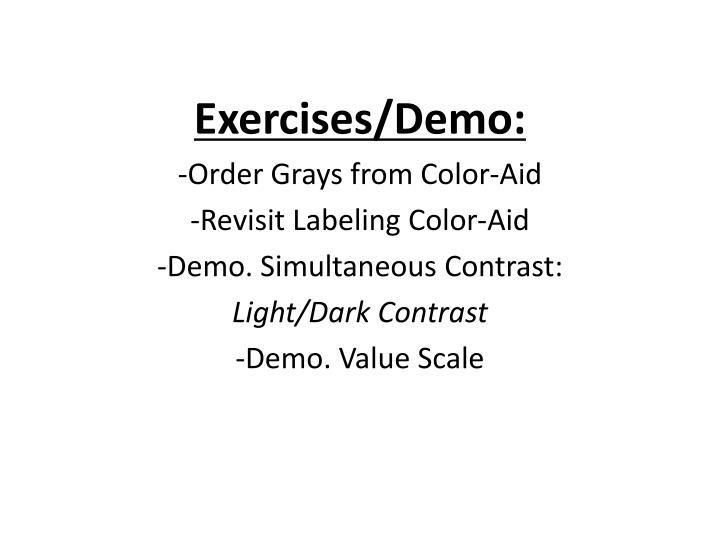 Exercises/Demo: