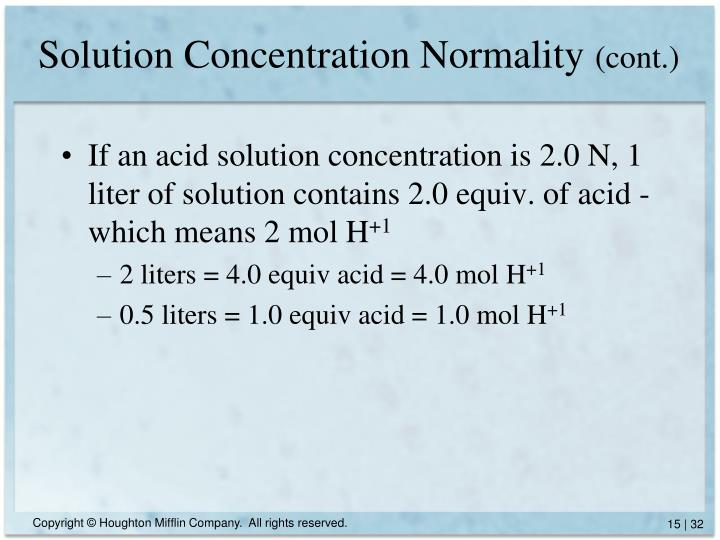 Solution Concentration Normality