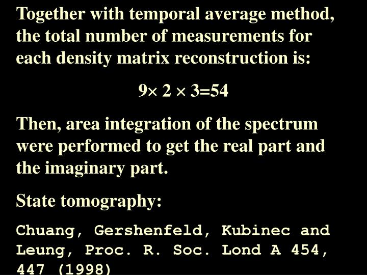 Together with temporal average method,  the total number of measurements for each density matrix reconstruction is: