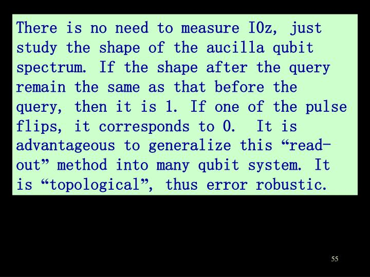 There is no need to measure I0z, just study the shape of the aucilla qubit spectrum. If the shape after the query remain the same as that before the query, then it is 1. If one of the pulse flips, it corresponds to 0.  It is advantageous to generalize this