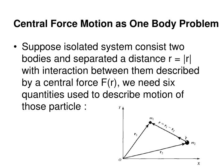 Central Force Motion as One Body Problem