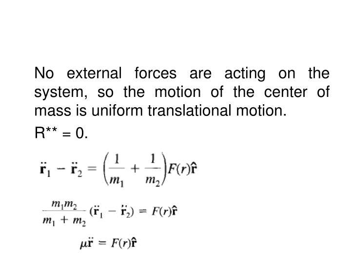 No external forces are acting on the system, so the motion of the center of mass is uniform translational motion.