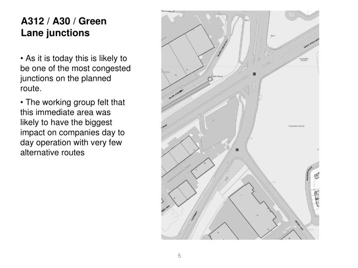 A312 / A30 / Green Lane junctions