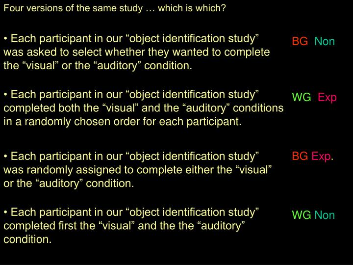 Four versions of the same study  which is which?