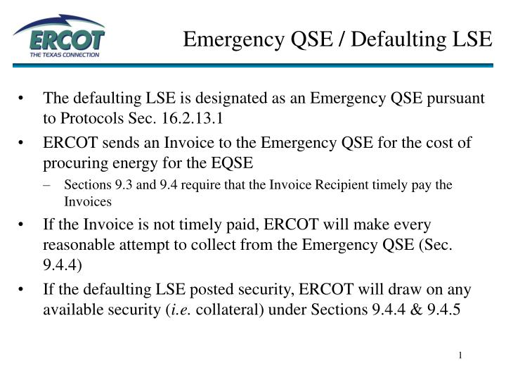 Emergency qse defaulting lse