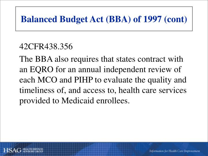 Balanced Budget Act (BBA) of 1997 (cont)