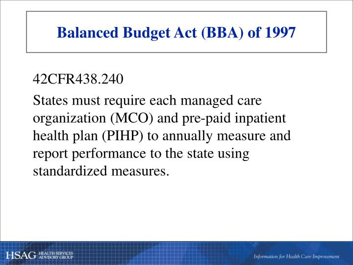 Balanced budget act bba of 19971