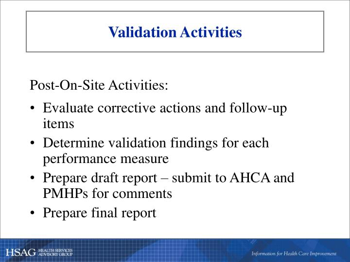 Validation Activities