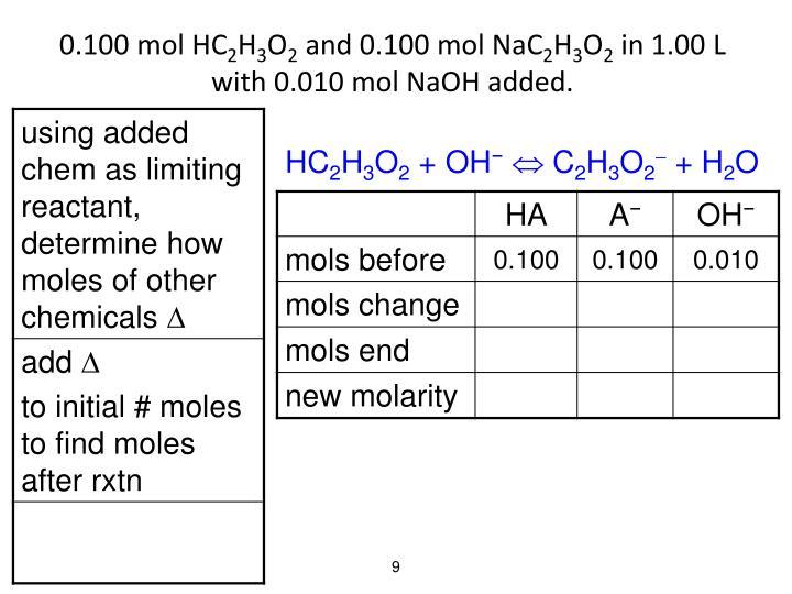 0.100 mol HC