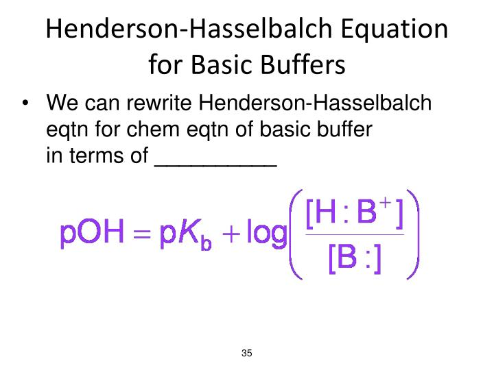 Henderson-Hasselbalch Equation for Basic Buffers