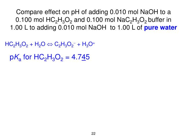 Compare effect on pH of adding 0.010