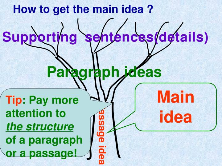 How to get the main idea ?