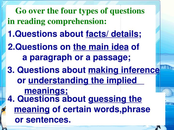 Go over the four types of questions