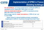 implementation of epbd in france existing buildings
