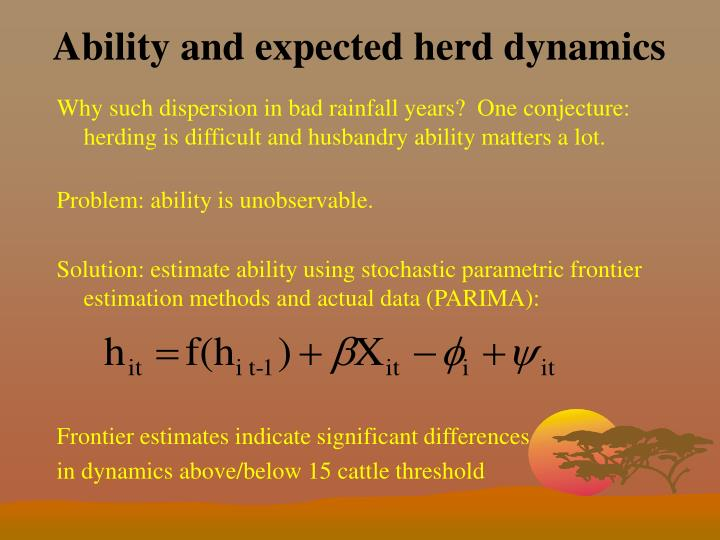 Ability and expected herd dynamics