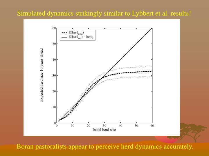 Simulated dynamics strikingly similar to Lybbert et al. results!
