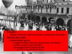 problems of the 1920 s