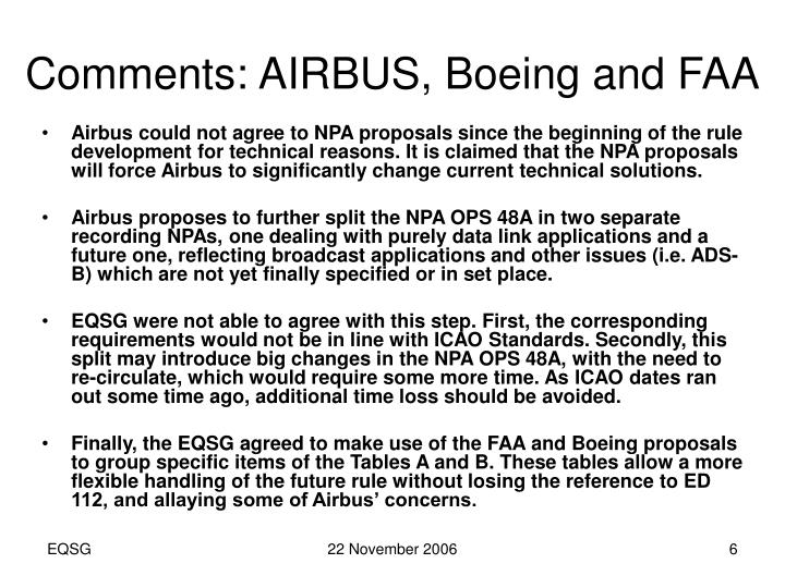 Comments: AIRBUS, Boeing and FAA