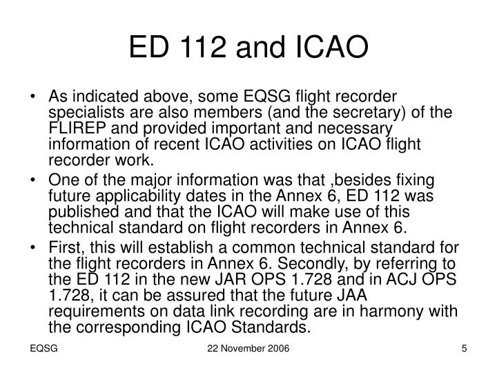 ED 112 and ICAO