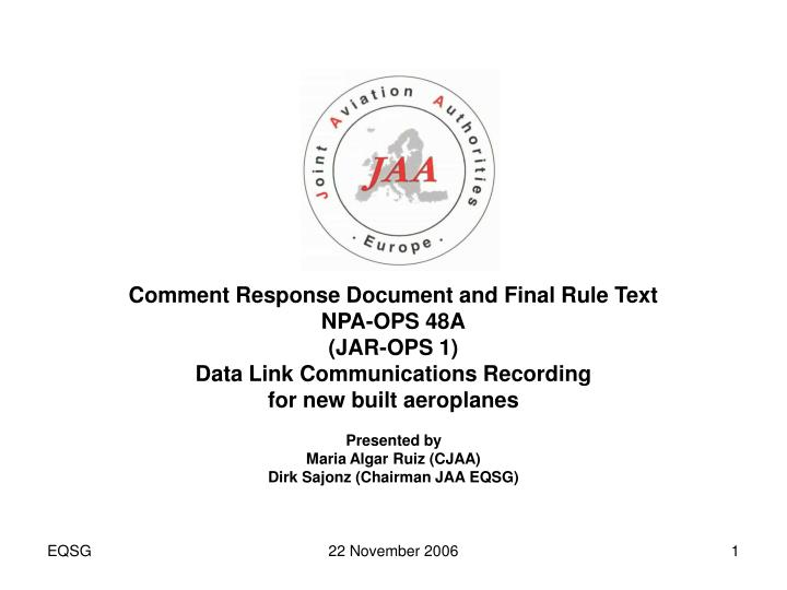 Comment Response Document and Final Rule Text